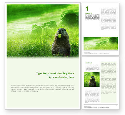 Agriculture and Animals: Groundhog Gratis Word Template #01893