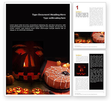 Halloween Pumpkin Word Template, 01899, Holiday/Special Occasion — PoweredTemplate.com