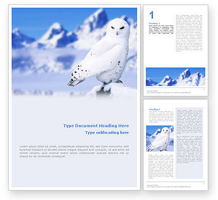 Agriculture and Animals: Snowy Owl Word Template #01902