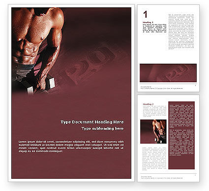 Sports: Body Building Word Template #01908