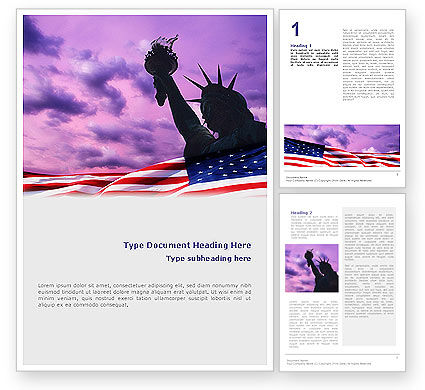 America: Statue of Liberty With American Flag Word Template #01914