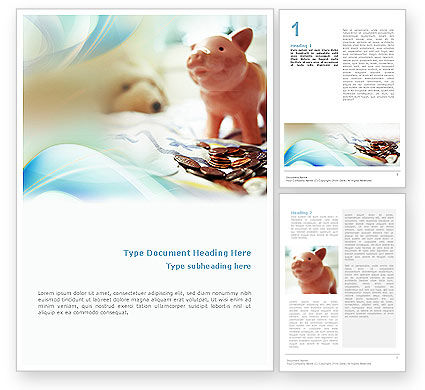 Financial/Accounting: Piggy Bank And Coins Word Template #01932