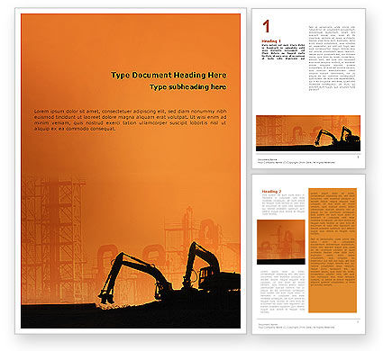 Silhouettes Of Excavators Word Template, 01940, Utilities/Industrial — PoweredTemplate.com