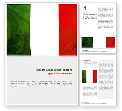 Flags/International: Italian Flag Word Template #01964