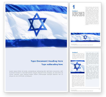 Flags/International: Flag of Israel Word Template #02002