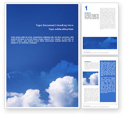 Nature & Environment: Cloudy Sky Word Template #02006
