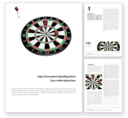 3D: Darts And Target Word Template #02007