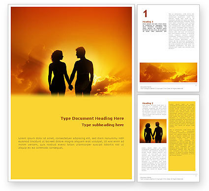 Couple Walking To Sunset Word Template