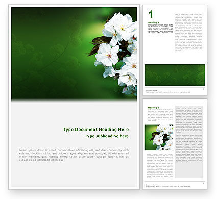 Nature & Environment: Blooming Cherry Tree In The Spring Word Template #02065