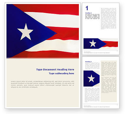 Flags/International: Flag of Puerto Rico Word Template #02074