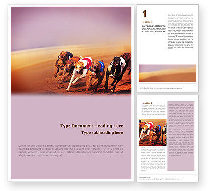 Dog Racing Word Template, 02077, Sports — PoweredTemplate.com