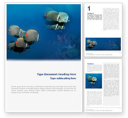 Nature & Environment: Fishing Life Underwater Word Template #02089