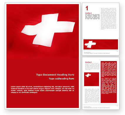 Flag of Switzerland Word Template, 02090, Flags/International — PoweredTemplate.com