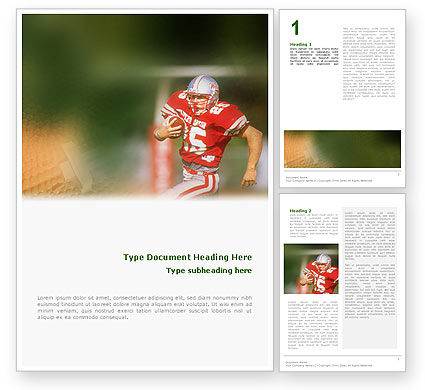 Sports: American Footballer Word Template #02107