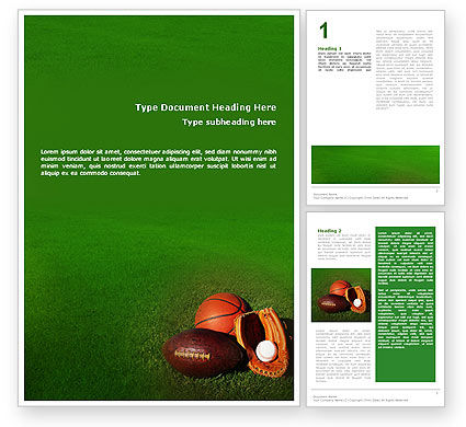 Ball Game Word Template, 02110, Sports — PoweredTemplate.com