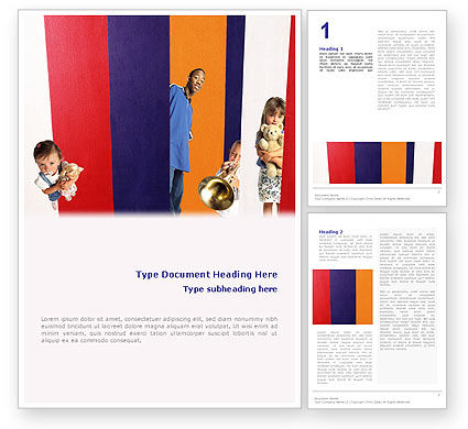Education & Training: Kids In Colored Stripes Word Template #02119