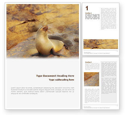 Agriculture and Animals: Sea Lion Word Template #02135
