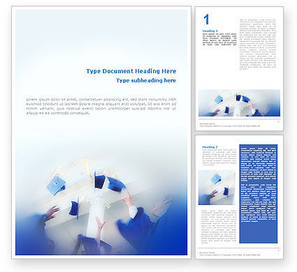 Graduation In Blue Colors Word Template, 02145, Education & Training — PoweredTemplate.com