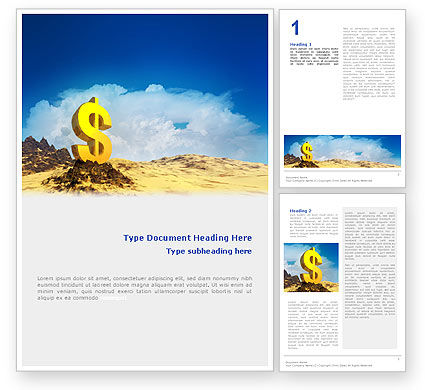 Dollar In Desert Word Template, 02172, Financial/Accounting — PoweredTemplate.com