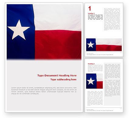 Flag of Texas Word Template, 02181, Flags/International — PoweredTemplate.com