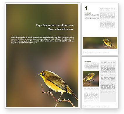 Nature & Environment: Templat Word Burung #02186
