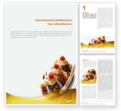 Banana Split Word Template, 02192, Food & Beverage — PoweredTemplate.com