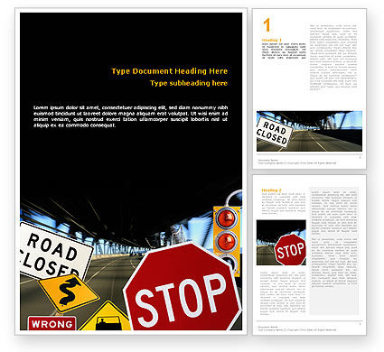 Education & Training: Road Sign Word Template #02198