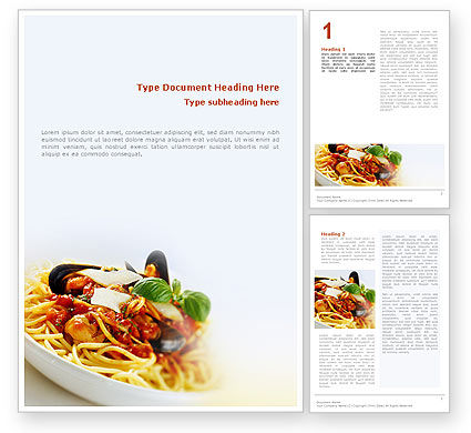 Food & Beverage: Spaghetti Word Template #02199
