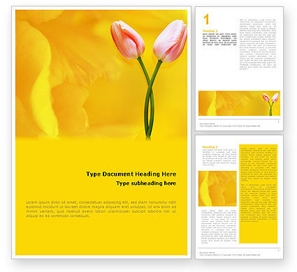 Holiday/Special Occasion: Templat Word Tulip Berwarna Kuning #02206
