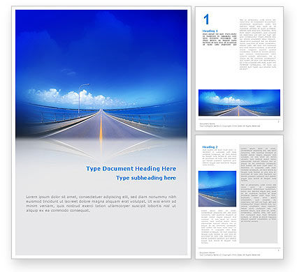 Construction: Highway In A Blue Distance Word Template #02214
