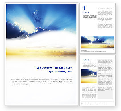 Religious/Spiritual: Blue Sky With Sunbeams Word Template #02216