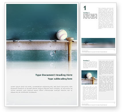 Sports: Baseball Ball And Bat Word Template #02220