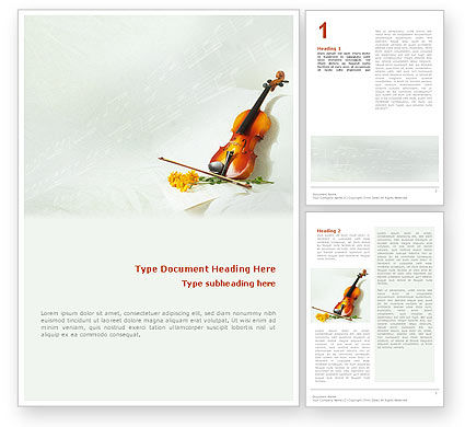 Art & Entertainment: Violin And Yellow Flowers Word Template #02225