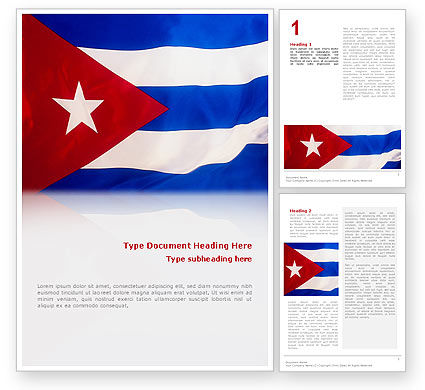 Flag of Cuba Word Template, 02229, Flags/International — PoweredTemplate.com