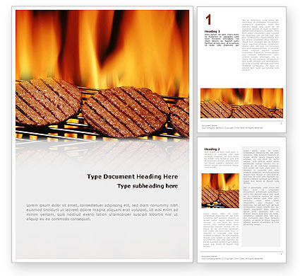 Food & Beverage: Burgers On Grill Word Template #02237