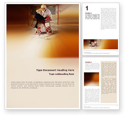 Sports: Ice Hockey Goalkeeper Word Template #02255