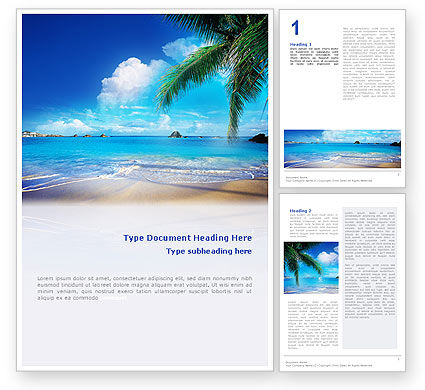 Vacation In A Blue Lagoon Word Template, 02257, Nature & Environment — PoweredTemplate.com