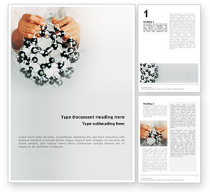 Technology, Science & Computers: Creation Of Fullerene Molecule Model Word Template #02267