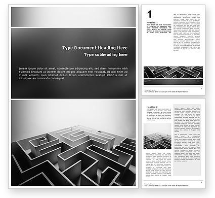 Business Concepts: Gray Labyrinth Word Template #02270
