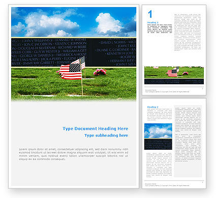 Holiday/Special Occasion: American Flag In Memorial Day Free Word Template #02281