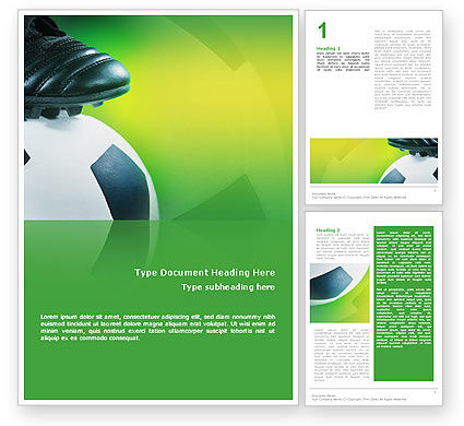 Football And Football Boots Word Template, 02282, Sports — PoweredTemplate.com