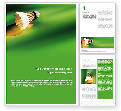 Sports: Badminton Word Template #02308