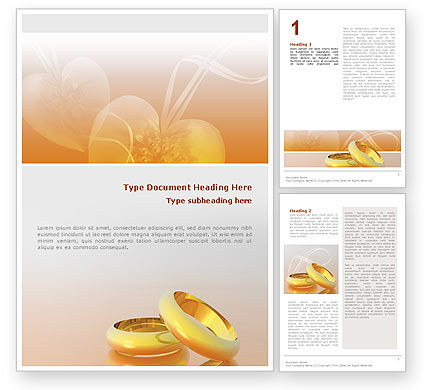 Wedding Rings Word Template, 02309, Holiday/Special Occasion — PoweredTemplate.com
