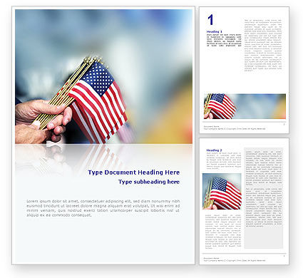 USA Flag Word Template, 02329, Flags/International — PoweredTemplate.com