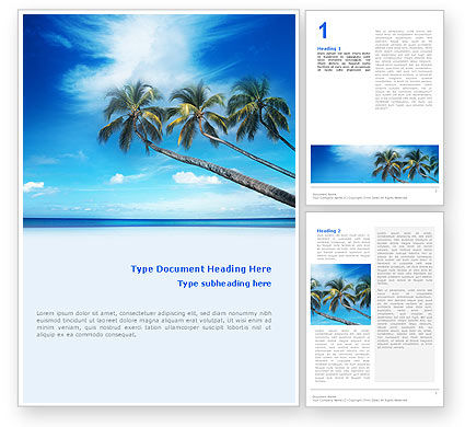 Palm Tree Word Template, 02331, Nature & Environment — PoweredTemplate.com