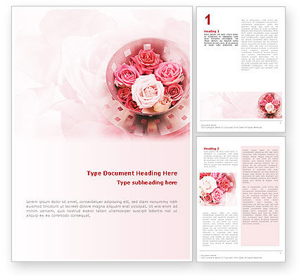 Holiday/Special Occasion: Roses Word Template #02354