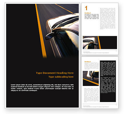 Cars/Transportation: Car On Highway Word Template #02358