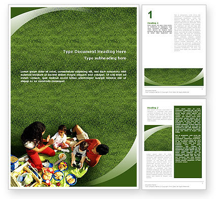 Family Picnic Word Template, 02364, People — PoweredTemplate.com