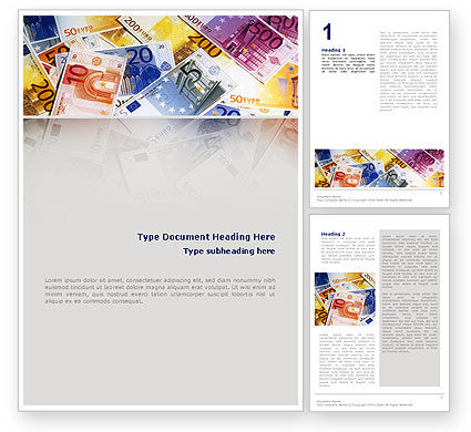 Financial/Accounting: Euro Banknotes Word Template #02374