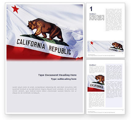 Flags/International: California State Flag Word Template #02387
